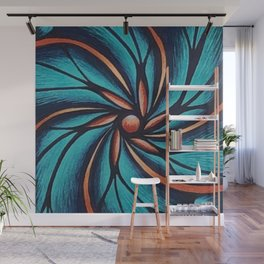 The Ocean Flower Swirl Wall Mural