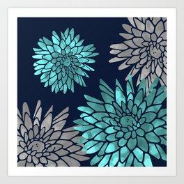 Floral Chrysanthemum Modern Navy Aqua Art Print