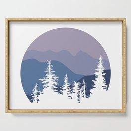 Mountain Sunrise Blue Hues Serving Tray