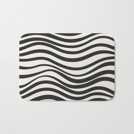 Wavy lines black and white Bath Mat