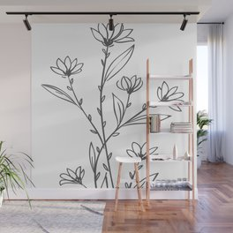 Line Art of Flowers 4 Wall Mural
