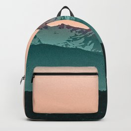 Grainy Sunset Mountain View // Textured Landscape Photograph of the Beautiful Orange and Blue Skies Backpack