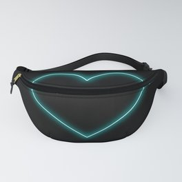 Aqua Blue Neon Valentines Love Heart Fanny Pack