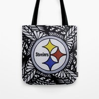 steelers Tote Bags featuring Steelers Poly Style by Lonica Photography & Poly Designs