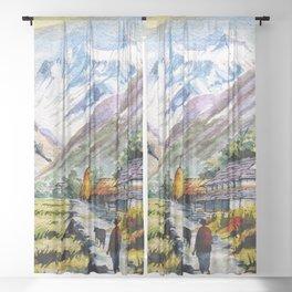 Long Walk By The Mountain Sheer Curtain
