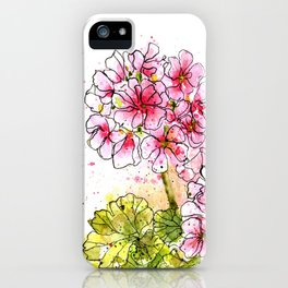 Pink Geraniums Watercolor Painting iPhone Case