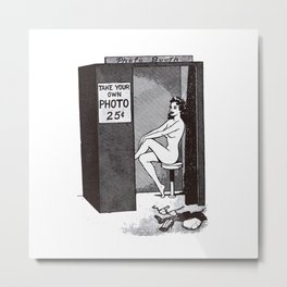 Nude woman in photo booth Metal Print