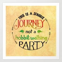 hobbit Art Prints featuring Hobbit Party by Purrito Press