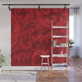 Retro Chic Swirl Flame Scarlet Wall Mural