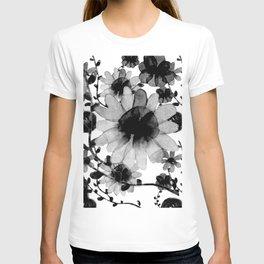 Vintage watercolor floral black T-shirt