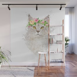 Boho cat portrait with flower crown Wall Mural