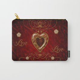 Wonderful hearts with floral elemetns, gold, red Carry-All Pouch