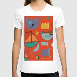 cat and bear pirate red T-shirt