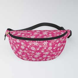 Festive Peacock Pink and White Christmas Holiday Snowflakes Fanny Pack