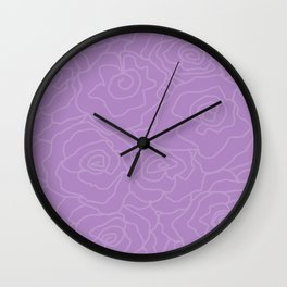 Lavender Dreams Roses - Medium with Light Outline Wall Clock