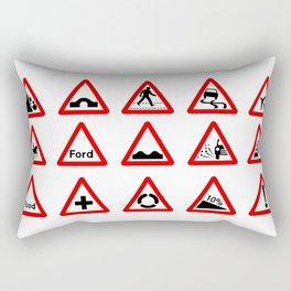 15 Triangle Traffic Signs Rectangular Pillow