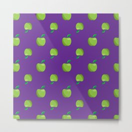 a basket of green apples pattern Metal Print