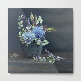 Bucket of Blue Hydrangeas Metal Print