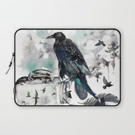Blackwinged Birds Fly Past The Moonlit Raven's Eye Laptop Sleeve