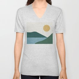 Sunny Lake - Abstract Landscape Unisex V-Neck