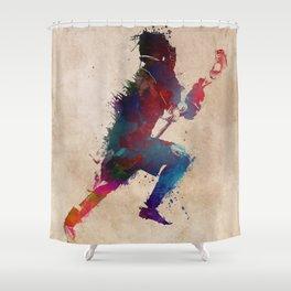 Lacrosse player art 1 Shower Curtain