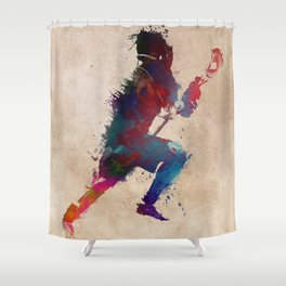 Lacrosse player art 1 Shower Curtain