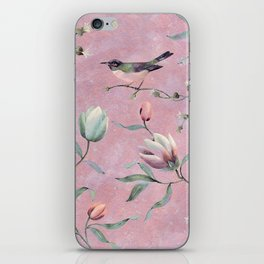 Bird on spring flowers iPhone Skin