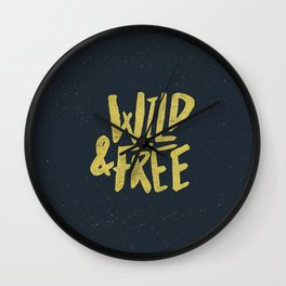 Wild and Free x Gold and Navy Wall Clock