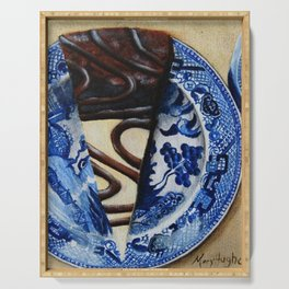Brownie Cheesecake on Blue Willow Plate Serving Tray