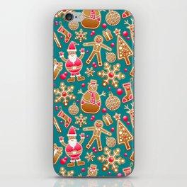 Cute Christmas Gingerbread Cookie Pattern iPhone Skin