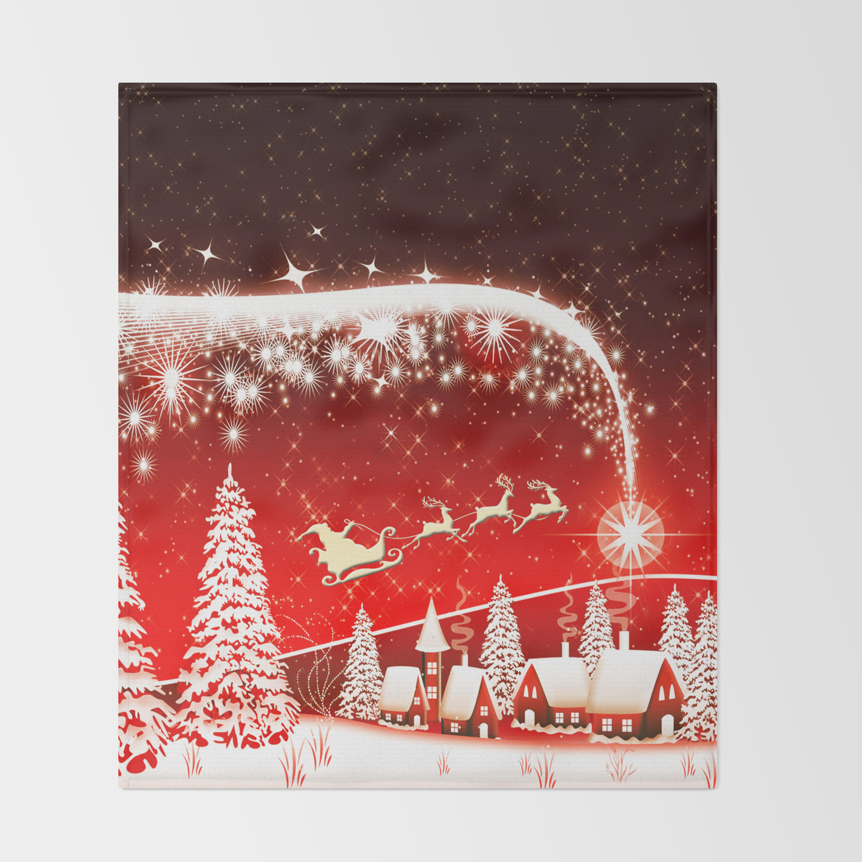 Christmas Throw Blanket.Santa Beautiful Christmas Throw Blanket