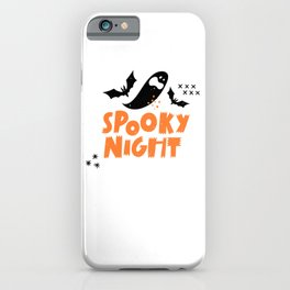 Funny spooky night halloween with bats and ghosts - Halloween hand drawn quotes illustration. Funny humor. Life sayings. Spooky funny quotes. iPhone Case