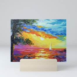 Sailboat at sunset  Mini Art Print