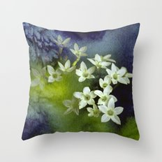 little white flowers and watercolors Throw Pillow