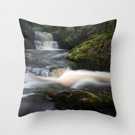 Waterfall behind Dinas Rock Throw Pillow