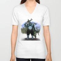hunter V-neck T-shirts featuring Hunter by Goldman