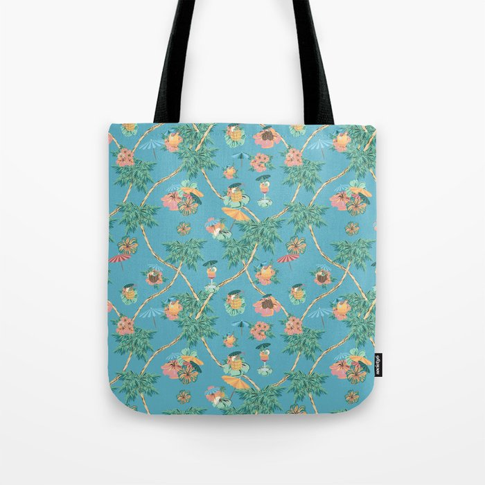 Tropical blue retro cocktail pattern Tote Bag