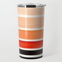 Brown Minimalist Watercolor Mid Century Staggered Stripes Rothko Color Block Geometric Art Travel Mug
