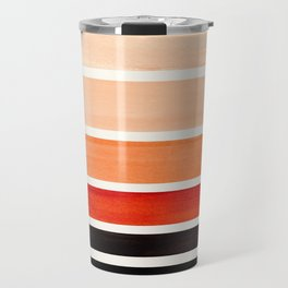 Brown Minimalist Watercolor Mid Century Staggered Stripes Rothko Color Block Geometric Art Travel Mug