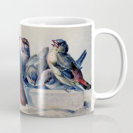 Vintage Blue & Red Winter Songbirds Coffee Mug