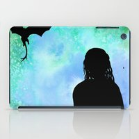 mother of dragons iPad Cases featuring Mother of Dragons Silhouette over Green + Blue by Jessica Barst