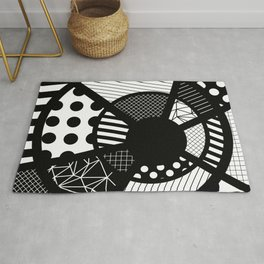 Twisted Web - Black And White, Patterned, Abstract Art Rug