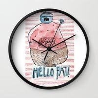 fat Wall Clocks featuring FAT by PranitaKocharekar