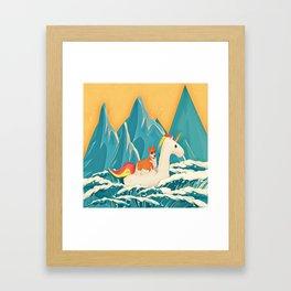 Corgi and the rainbow unicorn Framed Art Print