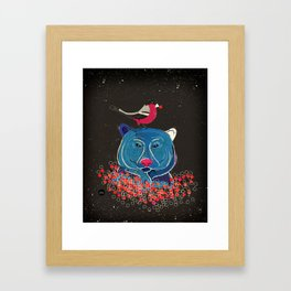 Bullfinch and bear Framed Art Print