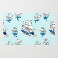 ships Area & Throw Rugs featuring Ships Pattern by Brooke Weeber