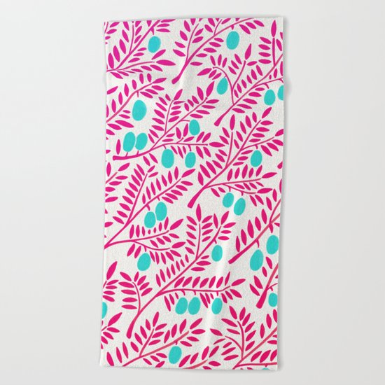 Olive Branches – Pink Ombré & Turquoise Beach Towel