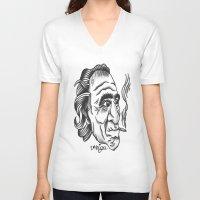 bukowski V-neck T-shirts featuring Bukowski by @VEIGATATTOOER