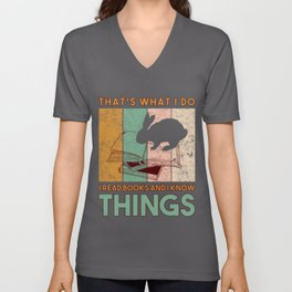 That's What I Do I Read Books And I Know Things Bunny Read Rabbit Reader Bookmarks School Librarian Unisex V-Neck