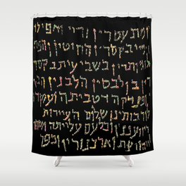 Hebrew letters  Shower Curtain